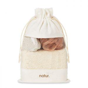 Set de baño personalizable en bolsa jute
