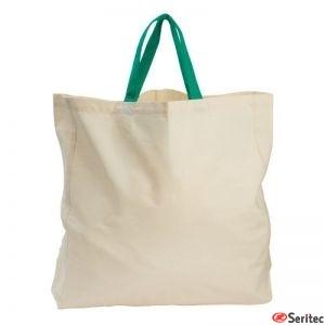 Bolsa 100% algodón asa verde orgánico