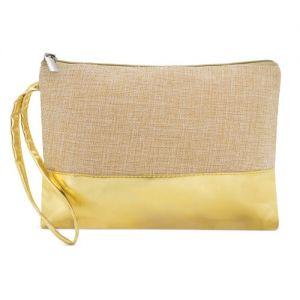 Neceser o bolso de mano de yute y polipiel dorado personalizado