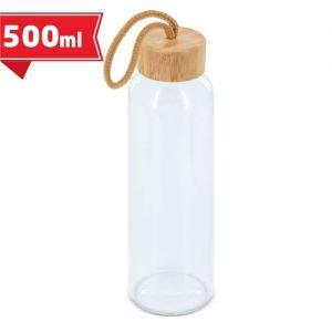 Botella publicitaria de cristal con tapón de bambú
