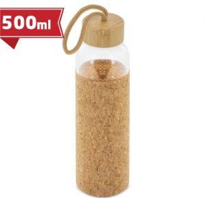 Botella personalizada de cristal tapón bambú/corcho