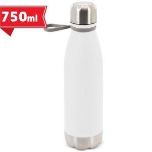 Bidón metálico acabado mate o plateado publicitario. Botella 750 ml.