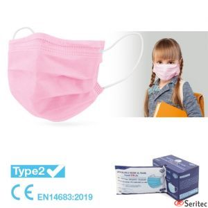 Mascarilla infantil médica quirúrgica desechable IIR. Color Rosa o Azul