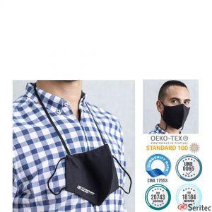Mascarilla higiénica reutilizable con cinta para el cuello publicitaria