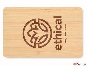 Tarjeta RFID carcasa bambú personalizada