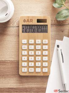 Calculadora bambú de 12 dígitos publicitaria