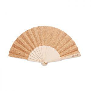 Abanico madera y tejido corcho personalizado