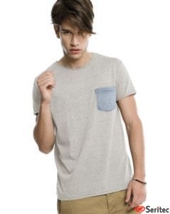 Camiseta hombre manga corta con bolsillo en pecho personalizable