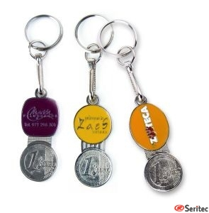 Llavero metálico con moneda personalizada para carro compra