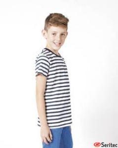 Camiseta niño manga corta a rayas marineras personalizable