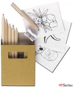 Caja de lapices con dibujos publicitaria