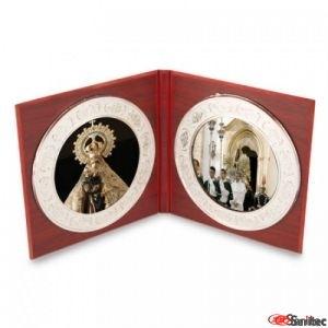 Retablos para dos imágenes acabado madera y plata