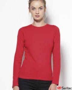 Camiseta básica mujer manga larga en varios colores personalizable