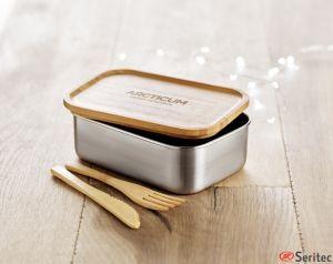 Fiambrera de inox y bambú con 2 cubiertos publicitaria