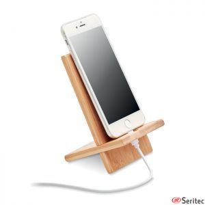 Soporte para teléfono de bambú publicitario