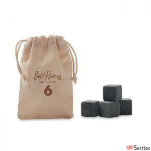Set de 4 cubitos hielo de piedra reutilizable publicitario