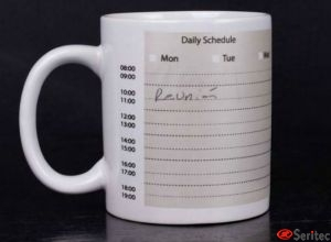 Taza de cerámica ejecutivo con planing semanal para escribir