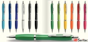 Boligrafos colores brillantes con aro publicitarios personalizados