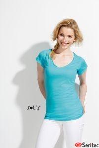 Camiseta personalizable mujer cuello de pico bordes enrollados