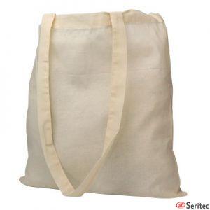 Bolsa algodón de asas largas publicitaria