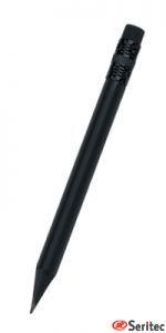 Lápiz publicitario mini madera negra con goma triangular negro