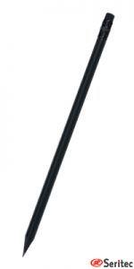 Lápiz publicitario madera negra con goma triangular negro