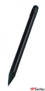 Lápiz publicitario mini madera negra con goma redondo negro