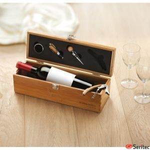 Set vino publicitaro en caja de bambú