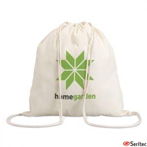 Mochila con cordones publicitaria 100% algodón