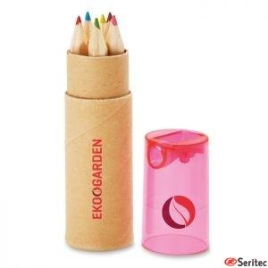 6 lápices de color en tubo personalizable