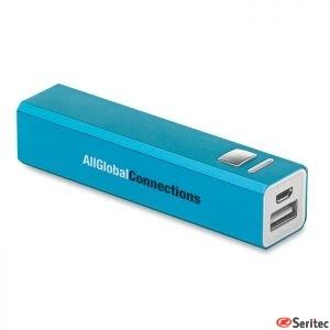 Power bank aluminio publicitario de 2.200 mAh para Smartphones