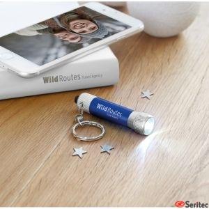 Llavero publicitario con mini linterna de aluminio con luz LED