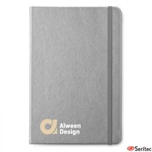 Libreta de notas A5 publicitaria de papel reciclado rayado y tapa blanda