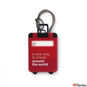 Identificador maletas publicitario con forma de trolley