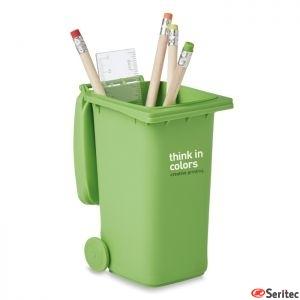 Portabolígrafos publicitario con forma de cubo de basura