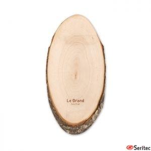 Tabla de cortar ovalada de madera publicitaria