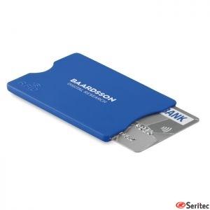 Protector tarjetas crédito RFID en PS con aluminio publicitario