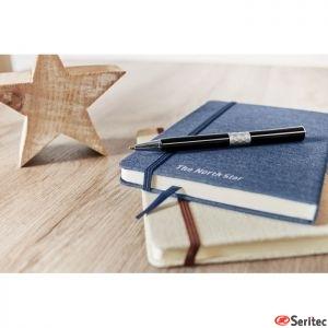 Cuaderno A5 publicitario tapa poliéster doble tono interior a rayas
