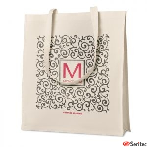Bolsa de la compra en sarga de algodón con fuelle publicitaria
