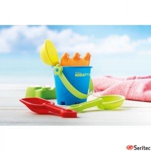 Cubo de playa personalizable con 6 juguetes