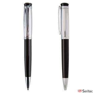 Bolígrafo en negro y metal con estuche incluido personalizado