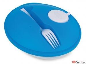 Ensaladera con tapa personalizada incluye tenedor y salsera