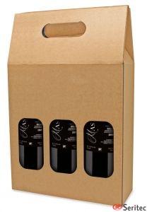 Caja cartón tres botellas personalizada