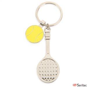Llavero metálico raqueta tenis personalizado
