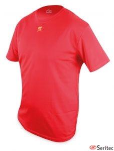 Camisetas dry & fresh rojas detalle España personalizadas