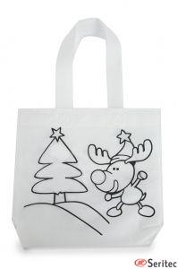 Bolsa non woven navideña para pintar serigrafiada