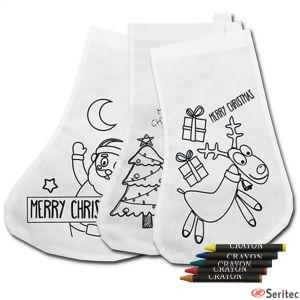 Bolsas con forma de calcetín para colorear regalo navidad publicitario