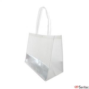 Bolsa lafayette blanca/negra con banda plateada para personalizar