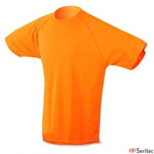 Camiseta dry & fresh naranja para niño personalizada