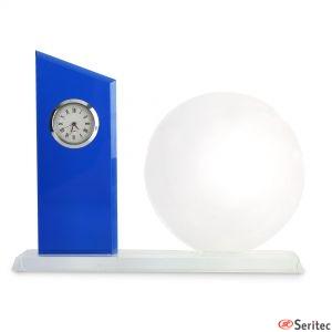 Placa conmemorativa de cristal con reloj para personalizar